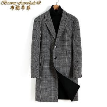 布朗华菲新款男士中长款千鸟格双面呢大衣韩版羊毛外套8228