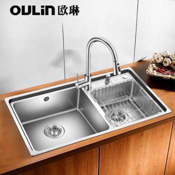 欧琳水槽双槽套餐仿手工槽大双槽304不锈钢厨房水槽双槽洗菜盆洗碗池含CFL002抽拉龙头J003