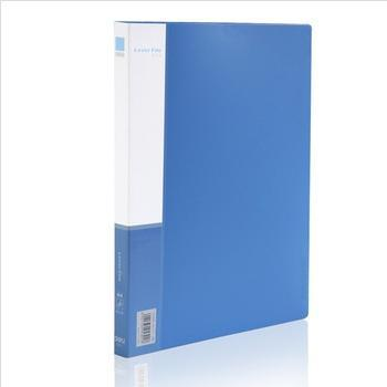 得力(deli)5301实用文件夹A4单强力夹+插袋蓝色单只装