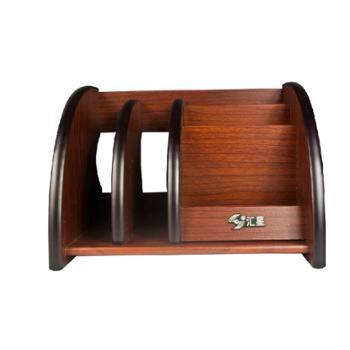 汇星高档木质笔筒HX-1011桌面多功能办公商务创意笔筒