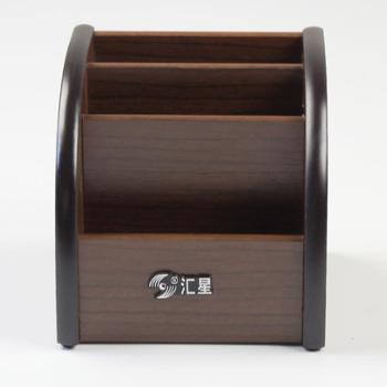 汇星HX-1021 时尚木质多用途桌面遥控器架/笔筒/手机座/收纳盒