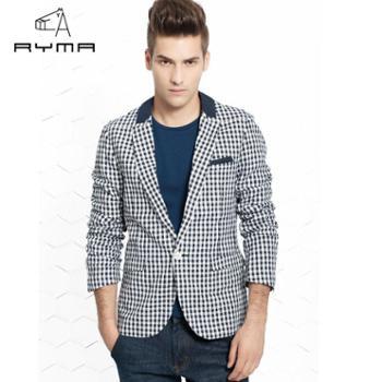 RYMA新品时尚格子修身男西装商务休闲便服单西一粒扣西装男外套