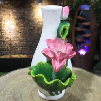 源泉家居荷花流水喷泉 桌面树脂摆件 仿陶瓷精美家居饰品 加湿器