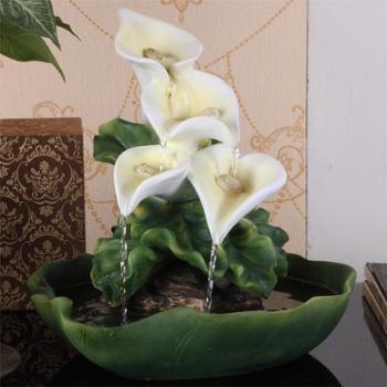 源泉家居简约现代树脂流水马蹄莲造型喷泉净化空气植物招财摆件