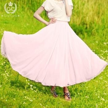 2014春夏季百褶大摆裙雪纺半身裙仙女裙波西米亚中长裙半身长裙