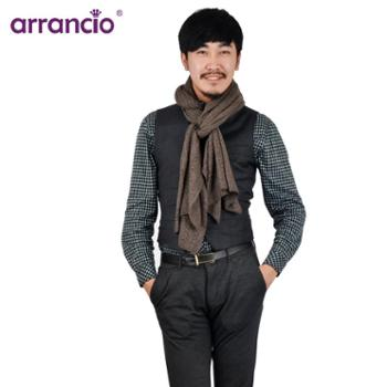 arrancio针织牦牛绒真丝人字绞花素色披肩