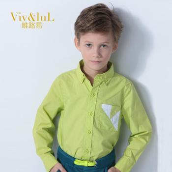 唯路易(Viv&luL)童装春秋装2014新款儿童衬衫男童长袖衬衣韩版纯棉宝宝衬衫打底衫