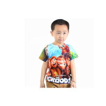 优乐小猪新款童装男童热转印t恤热转移3D疯狂原始人短t