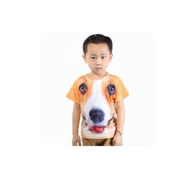 优乐小猪新款童装男童童装热转印t恤小狗3D短T