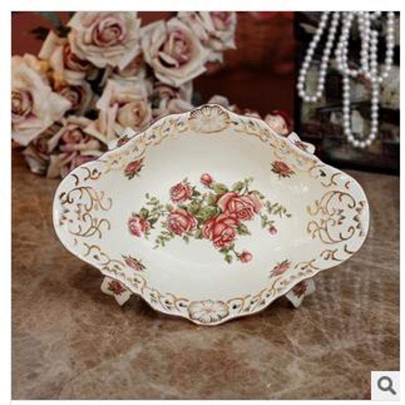 美屋家居 家居装饰品客厅摆设新婚礼品象牙瓷陶瓷欧式水果盘gp055