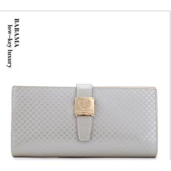 春夏新款女士长款钱包欧美时尚高端菱格纹搭扣钱夹真皮手拿包