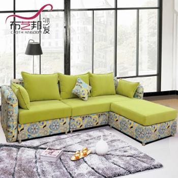 布艺沙发大小户型简约现代清新组合欧式客厅转角地中海田园风沙发