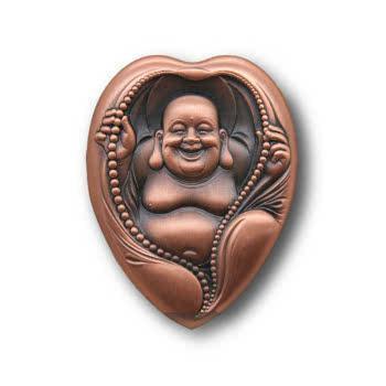 中国佛像纪念章笑口常开弥勒佛小铜章