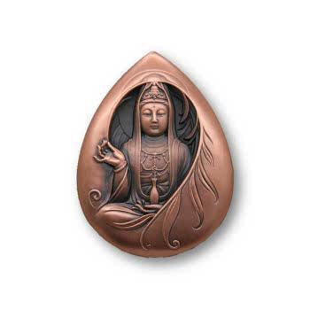 中国金币中国佛像纪念章观音菩萨滴水观音小铜章