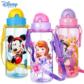 Disney迪士尼儿童耐摔防漏塑料杯卡通时尚510ML透明吸管水杯