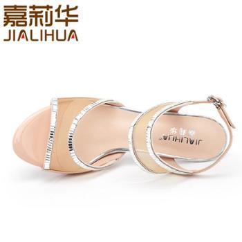 嘉莉华新款女凉鞋优雅羊皮高跟女鞋舒适细跟凉鞋女JBG43521