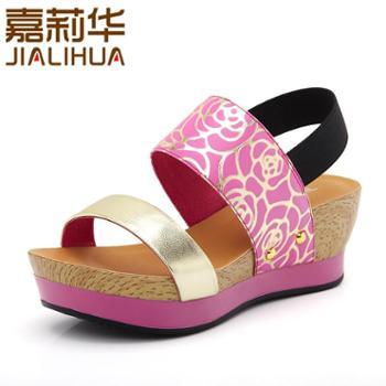 嘉莉华2014新款女凉鞋正品坡跟厚底中跟松糕糖果色女学生女式凉鞋 JBZ42001