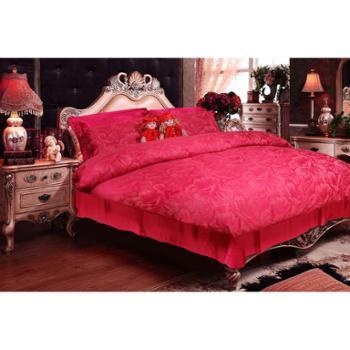 英国雅迪娜家纺婚庆四件套全棉大提花结婚床上用品红色1.8m新婚床单被套喜莱雅
