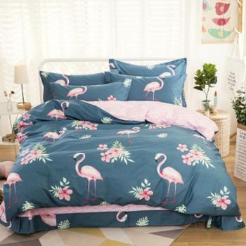英国雅迪娜家纺北欧风ins全棉床上用品四件套纯棉印花被套床单1.5m1.8床 喜莱雅