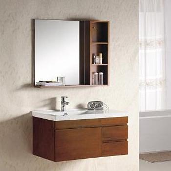 苹果王卫浴一体陶瓷盆实木浴室柜