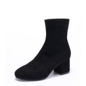 耶斯爱度2018秋冬新款时尚高跟鞋防滑保暖短筒靴子女短靴(唯尚a5810)