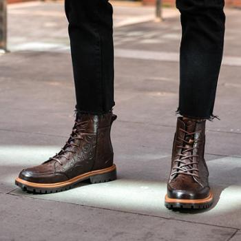 头层牛皮马丁靴子加棉保暖防滑透气舒适软皮骑士靴青春潮流英伦风699