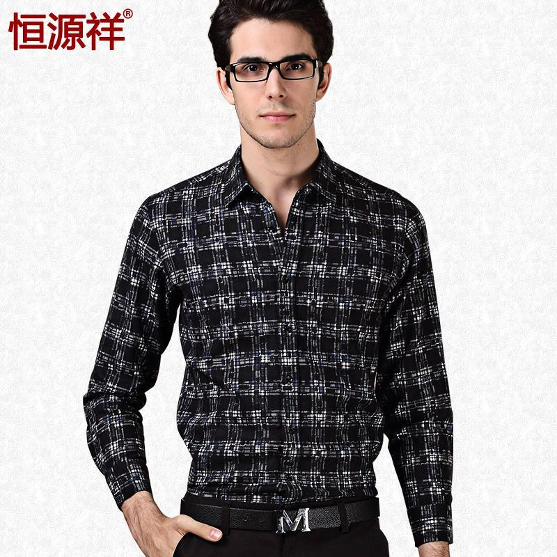 恒源祥2015春装新款男士长袖衬衫 正品花格子圆摆休闲衬衣男长袖