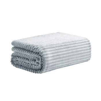 三利素色割绒盖毯灰/咖