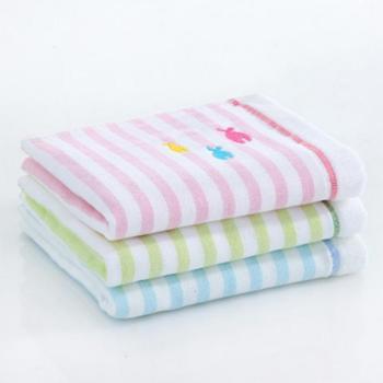 三利纱布小鱼童巾3条混色装(粉蓝绿各一条)