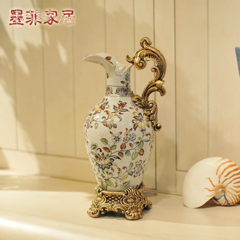 纽曼米莱 欧式复古创意彩绘陶瓷赏瓶/花瓶/花器居家装饰工艺摆件