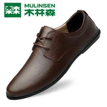木林森男士韩版商务黑色真皮英伦正装休闲皮鞋