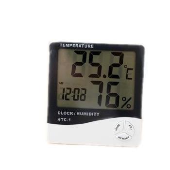 鸿泰家用电器电子湿/温度计家用大屏幕数显高精度室内电子温湿度计干湿计带闹钟包邮