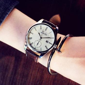 大表盘中性潮流女表时尚皮带男表学生情侣超薄防水石英手表