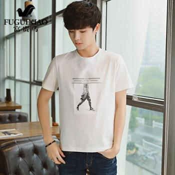 富贵鸟(FUGUNIAO)2018夏季新款男短袖T恤 青年男装潮流韩版修身圆领时尚体恤衫 C28