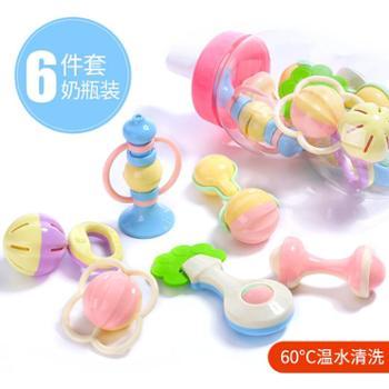 活石宝宝摇铃婴儿玩具6件套奶瓶装牙胶摇铃床铃775奶瓶6件套