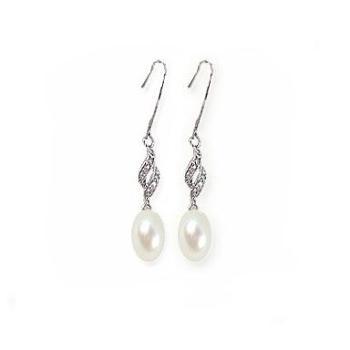 【玲珑】精品(8-9MM)米珠淡水珍珠925银耳坠