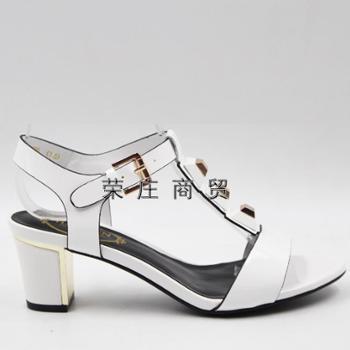 专柜正品哈森/Harson2016夏季新款粗跟凉鞋欧美女鞋漆皮HM62447