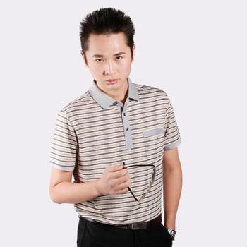 夏装新款男装短袖T恤丝光棉短袖T恤男士翻领T恤撞色拼接