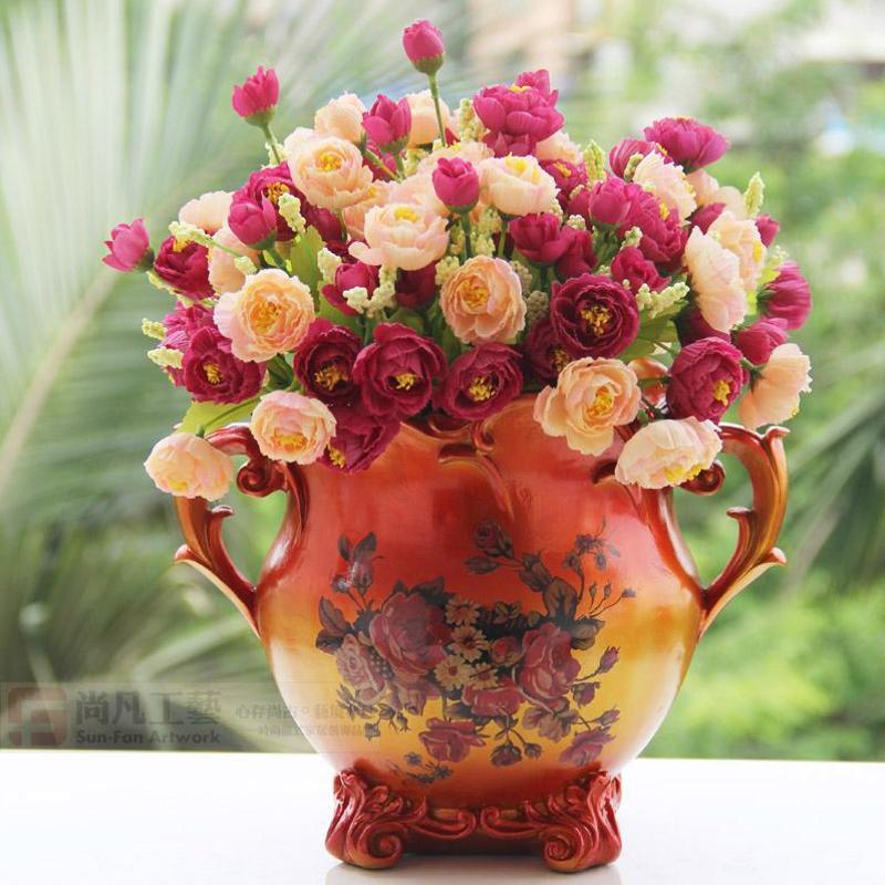 家居装饰品高档插花摆设欧式宫廷花器复古花瓶花盆送