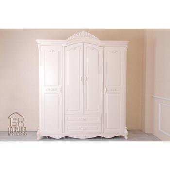 韩式风格新品爆款实木雕花象牙白四门衣柜