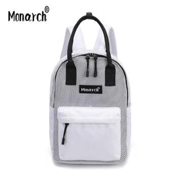 Monarch原创新款日韩网格双肩包简约百搭手提两用学院风书包潮