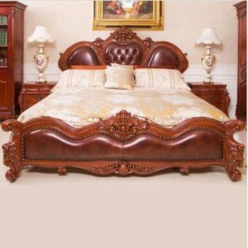 富华家园-桃花芯木纯手工精心雕刻高贵典雅欧式双人大床