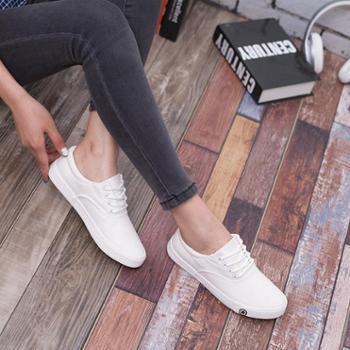 乔驰新款春夏季学生女帆布鞋韩版小白鞋系带潮流平底女鞋休闲鞋