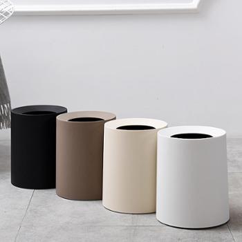 晨之欧式双层圆形垃圾桶家用客厅卧室时尚收纳桶厕所无盖垃圾桶8L