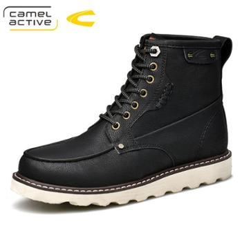 骆驼动感男士工装靴时尚棉靴冬加绒户外短靴男防滑徒步皮靴18223