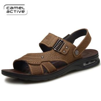骆驼动感男士真皮凉鞋男夏季中老年人防滑软底两用中年爸爸鞋