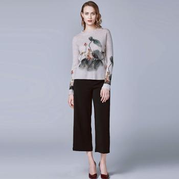 戎立特新款女士高领印花时尚羊绒衫FW016
