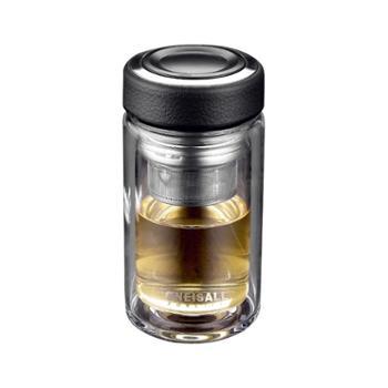 谁美双层玻璃杯便携水杯子不保温杯带盖过滤随手杯男士茶叶茶杯家用gy