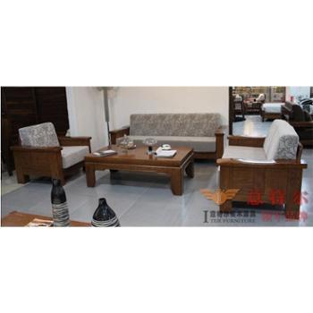 意特尔美国红橡木中式客厅家具现代简约宜家实木布艺沙发组合特价