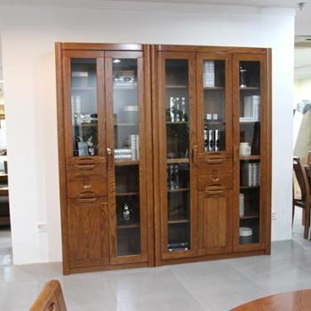 意特尔新品美国红橡全实木简易三门书柜书房办公两门书柜书橱特价